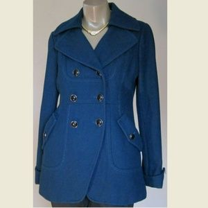 Guess Womens Peacoat Adorable Teal 60% Wool Sz M